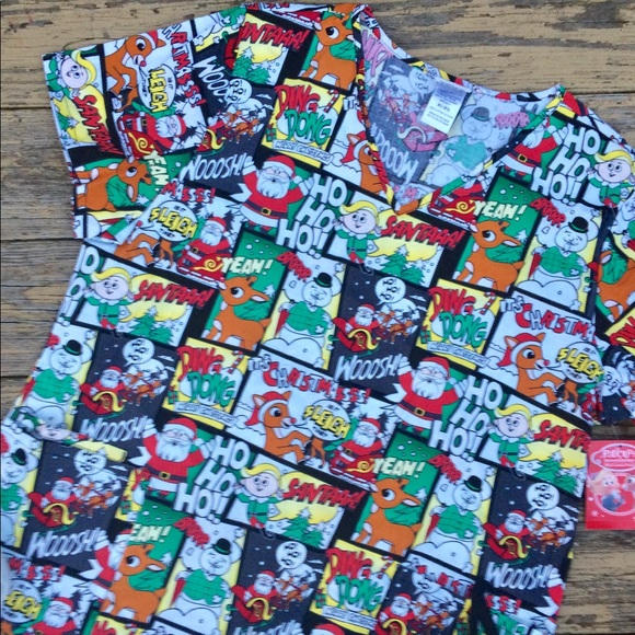 7e24399be9b Tops | Rudolph The Red Nosed Reindeer Christmas Scrub Top | Poshmark